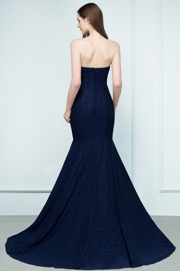 Elegant Navy Strapless Lace Mermaid Evening Prom Dress Long Online_3