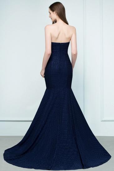 BMbridal Elegant Navy Strapless Lace Mermaid Evening Prom Dress Long Online_3