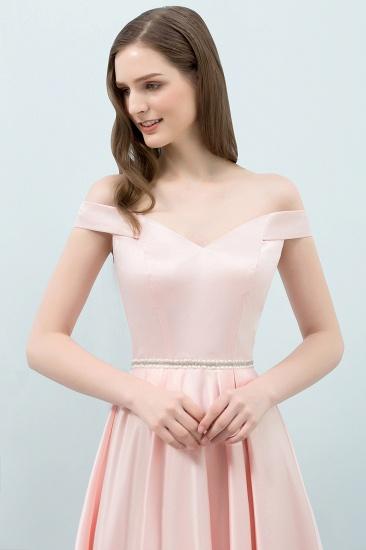 BMbridal A-line Off-shoulder Tea Length Pink Prom Dress with Sash_6