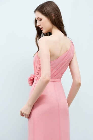Affordable Mermaid One shoulder Pink Bridesmaid Dresses with Flowers_55