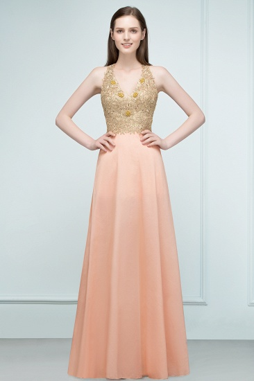 BMbridal A-line Floor Length Spaghetti V-neck Appliqued Chiffon Bridesmaid Dress Online_5