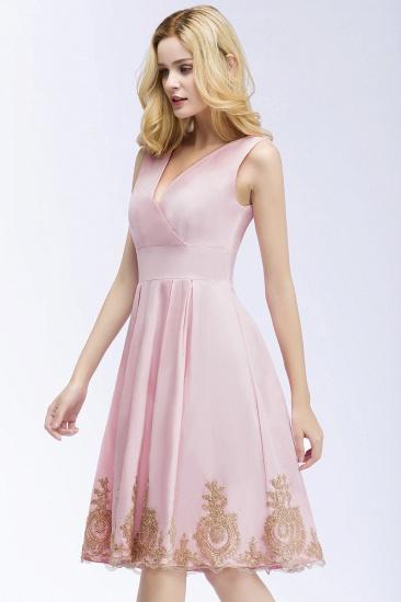 BMbridal A-line V-neck Knee Length Sleeveless Appliques Homecoming Dress Online_5