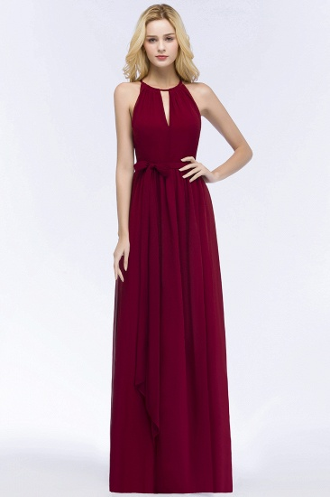 BMbridal A-line Halter Floor Length Burgundy Bridesmaid Dress with Bow Sash_1