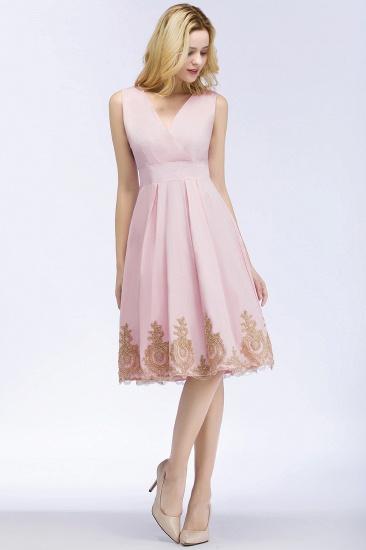 BMbridal A-line V-neck Knee Length Sleeveless Appliques Homecoming Dress Online_9