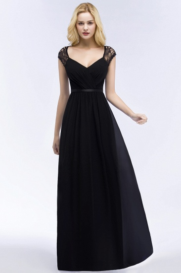 Elegant A-line Chiffon Lace V-neck Floor Length Bridesmaid Dress