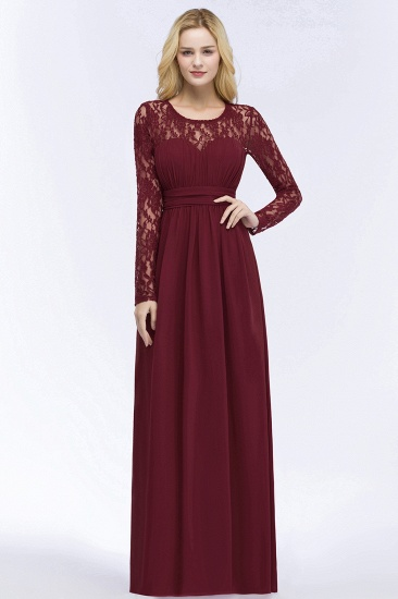 BMbridal A-line Floor Length Long Sleeves Lace Chiffon Bridesmaid Dress_7