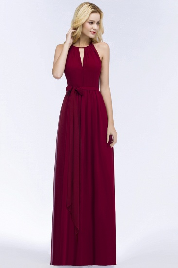 BMbridal A-line Halter Floor Length Burgundy Bridesmaid Dress with Bow Sash_13