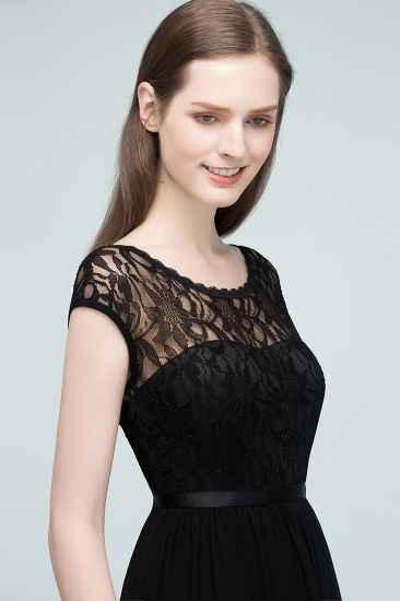 Affordable A-line Short-Sleeves Black Lace Bridesmaid Dress with Sash In Stock_5