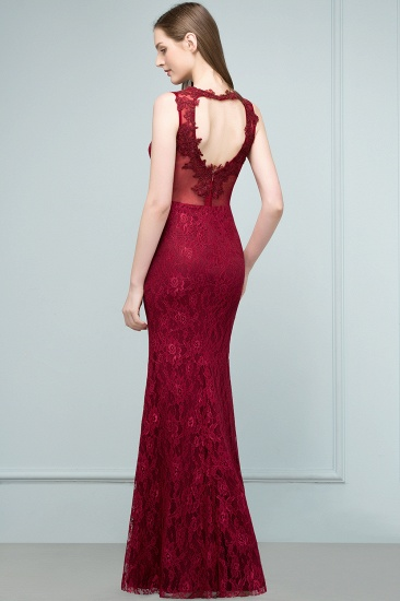 Gorgeous Bugrundy Lace Prom Dress Long Mermaid Evening Gowns Online_3