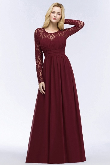 BMbridal A-line Floor Length Long Sleeves Lace Chiffon Bridesmaid Dress_5