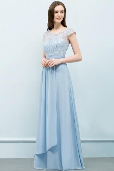 BMbridal A-line Long Cap Sleeves Lace Top Chiffon Bridesmaid Dress_4
