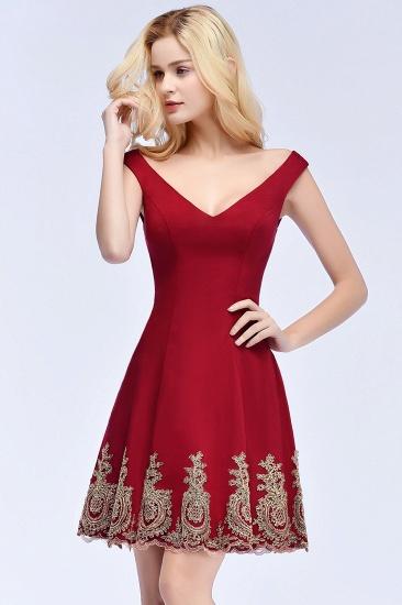 BMbridal A-line V-neck Short Off-shoulder Appliques Burgundy Homecoming Dress Online_8