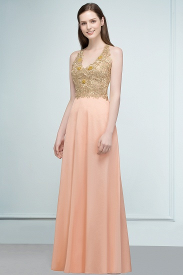 BMbridal A-line Floor Length Spaghetti V-neck Appliqued Chiffon Bridesmaid Dress Online_4