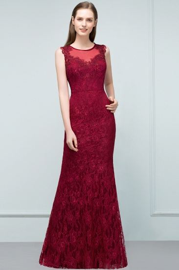 Gorgeous Bugrundy Lace Prom Dress Long Mermaid Evening Gowns Online