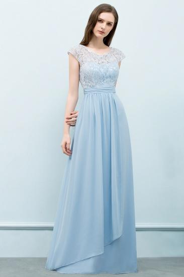 BMbridal A-line Long Cap Sleeves Lace Top Chiffon Bridesmaid Dress_5