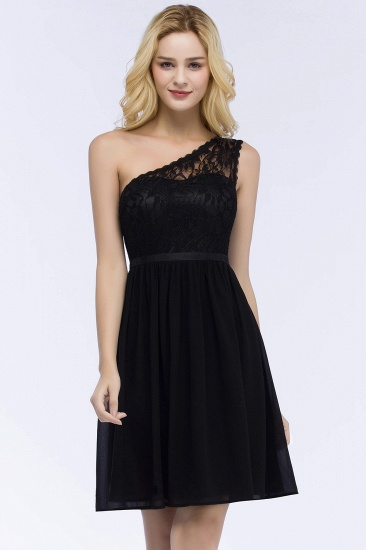 Cheap A-line Chiffon One-shoulder Lace Top Short Bridesmaid Dress