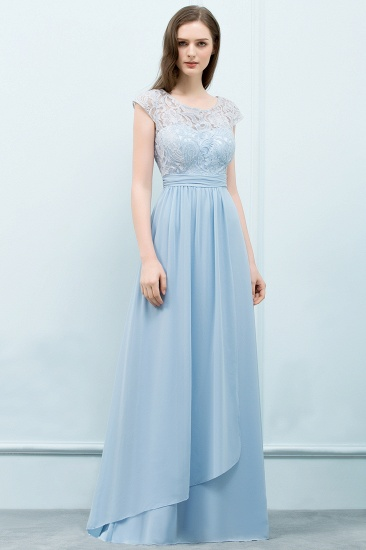 BMbridal Affordable Lace Sleeveless Blue Bridesmaid Dresses With Scoop Cap_1