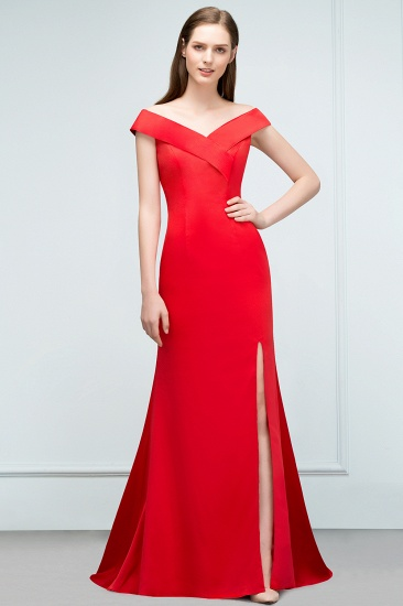 Red Off-the-Shoulder Mermaid Prom Dress Long With Split