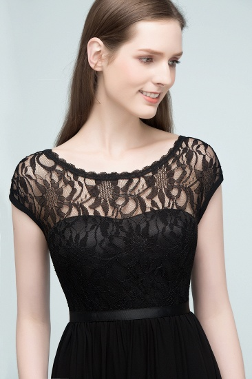 Affordable A-line Short-Sleeves Black Lace Bridesmaid Dress with Sash In Stock_8