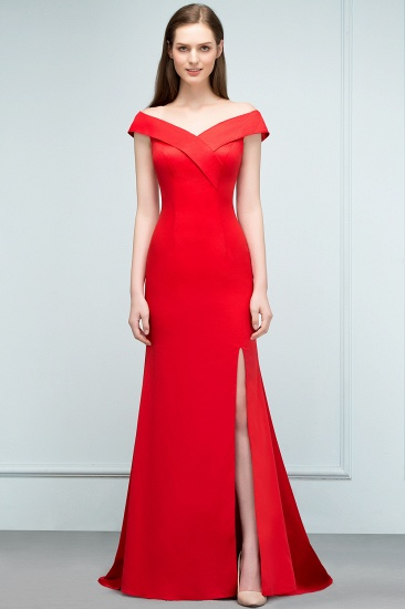 Red Off-the-Shoulder Mermaid Prom Dress Long With Split_6