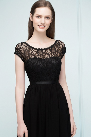 Affordable A-line Short-Sleeves Black Lace Bridesmaid Dress with Sash In Stock_4