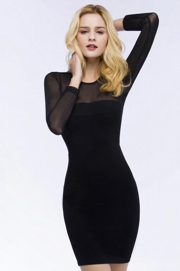 BMbridal Sheath Long Sleeves Sheer Neckline Short Black Homecoming Dress_5