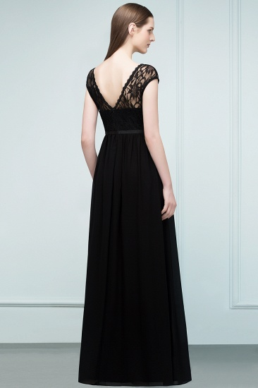 Affordable A-line Short-Sleeves Black Lace Bridesmaid Dress with Sash In Stock_3