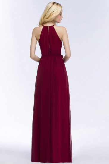 BMbridal A-line Halter Floor Length Burgundy Bridesmaid Dress with Bow Sash_10