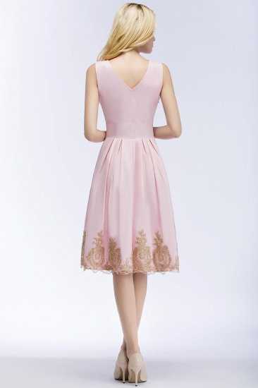 BMbridal A-line V-neck Knee Length Sleeveless Appliques Homecoming Dress Online_4