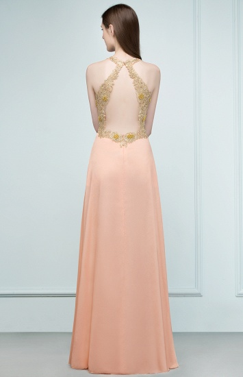 BMbridal A-line Floor Length Spaghetti V-neck Appliqued Chiffon Bridesmaid Dress Online_3