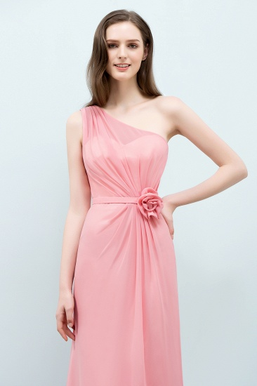 Affordable Mermaid One shoulder Pink Bridesmaid Dresses with Flowers_5