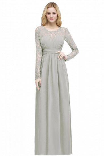 BMbridal A-line Floor Length Long Sleeves Lace Chiffon Bridesmaid Dress_2