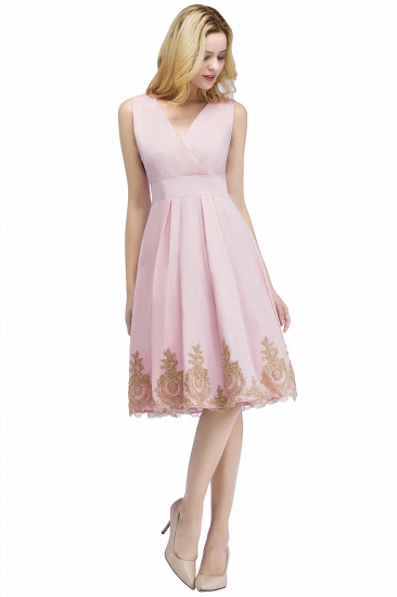 BMbridal A-line V-neck Knee Length Sleeveless Appliques Homecoming Dress Online_1
