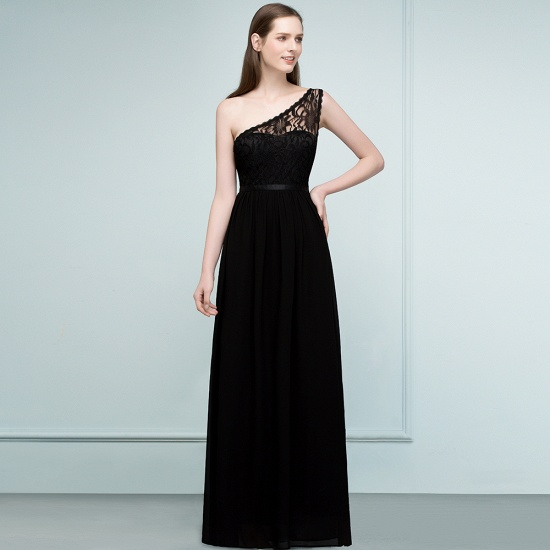 Chic One Shoulder Black Lace Long Bridesmaid Dresses Online In Stock_8