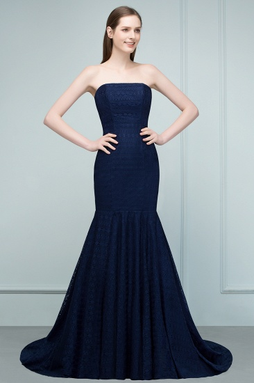 Elegant Navy Strapless Lace Mermaid Evening Prom Dress Long Online_5