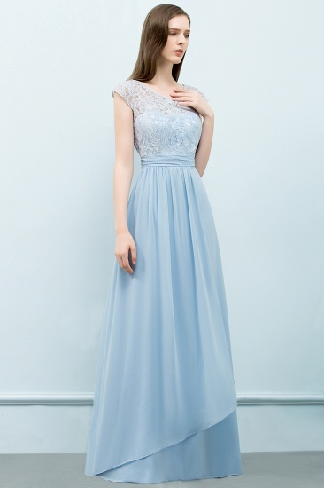 BMbridal Affordable Lace Sleeveless Blue Bridesmaid Dresses With Scoop Cap_4