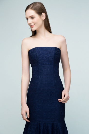 BMbridal Elegant Navy Strapless Lace Mermaid Evening Prom Dress Long Online_4