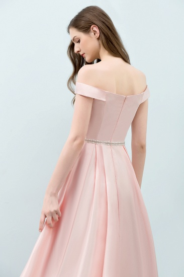 BMbridal A-line Off-shoulder Tea Length Pink Prom Dress with Sash_8