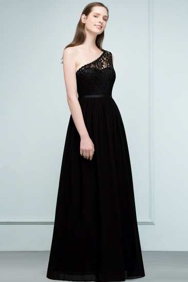 Chic One Shoulder Black Lace Long Bridesmaid Dresses Online In Stock_6