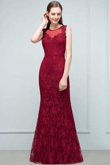 Gorgeous Bugrundy Lace Prom Dress Long Mermaid Evening Gowns Online_5