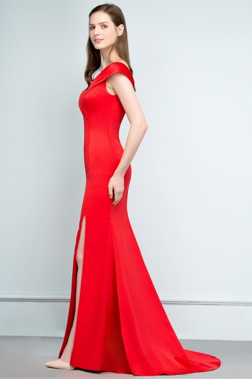 BMbridal Red Off-the-Shoulder Mermaid Prom Dress Long With Split_8