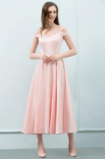 BMbridal A-line Off-shoulder Tea Length Pink Prom Dress with Sash_4