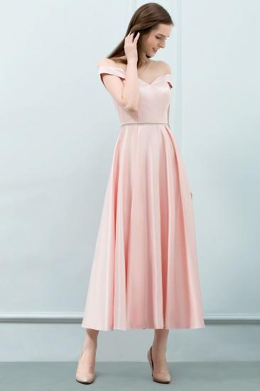 BMbridal A-line Off-shoulder Tea Length Pink Prom Dress with Sash_5