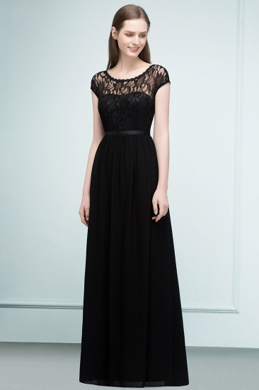 A-line Short Sleeves Black Lace Floor Length Bridesmaid Dress with Sash