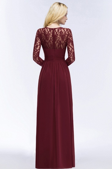 BMbridal A-line Floor Length Long Sleeves Lace Chiffon Bridesmaid Dress_4