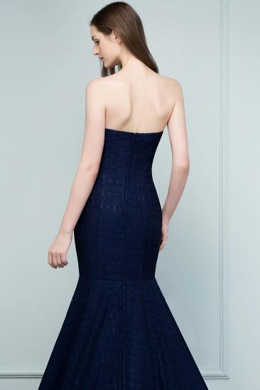 BMbridal Elegant Navy Strapless Lace Mermaid Evening Prom Dress Long Online_8