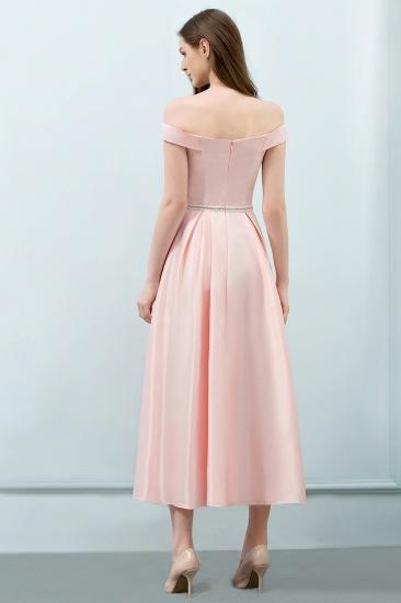 BMbridal A-line Off-shoulder Tea Length Pink Prom Dress with Sash_3