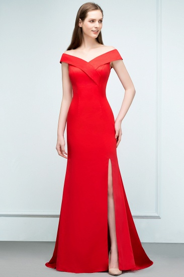 Red Off-the-Shoulder Mermaid Prom Dress Long With Split_5