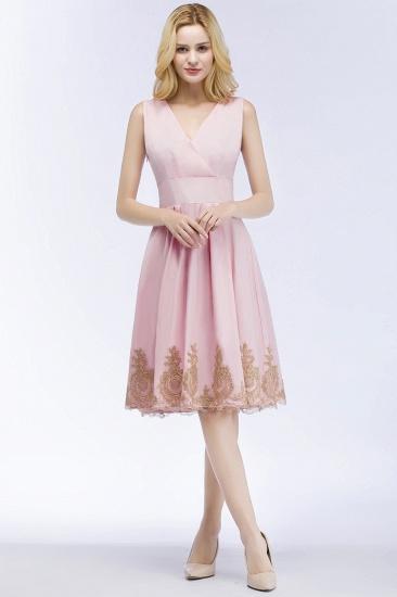 BMbridal A-line V-neck Knee Length Sleeveless Appliques Homecoming Dress Online_7