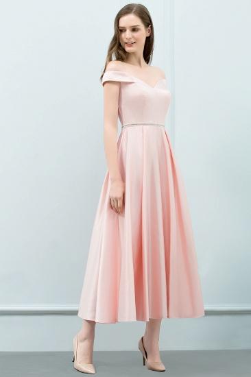 BMbridal A-line Off-shoulder Tea Length Pink Prom Dress with Sash_7
